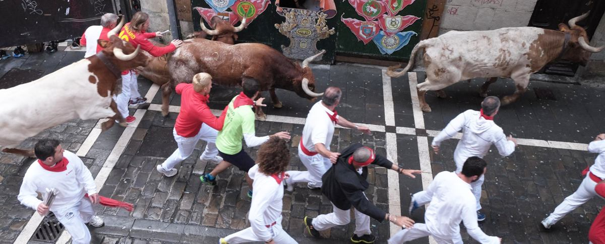 Bullrun in Pamplona on calle Estafeta from one of my balconies